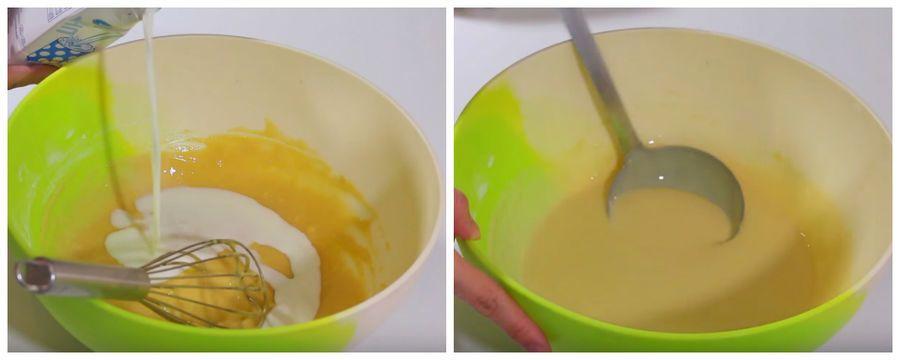 đánh hỗn hợp trứng và bột