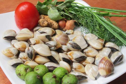 Nguyên liệu làm canh ngao chua
