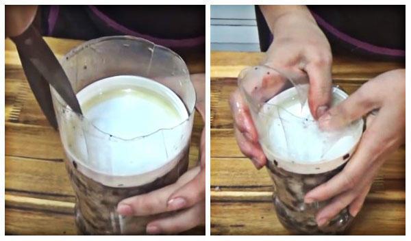 làm giò xào bằng chai nhựa