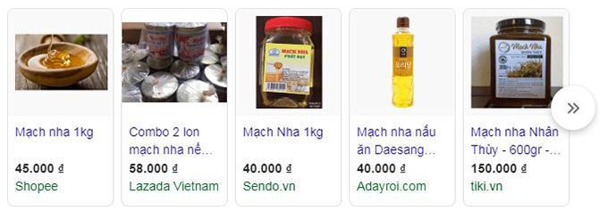 các sản phẩm mạch nha bán online