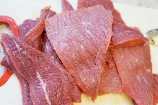 thịt bò thái miếng