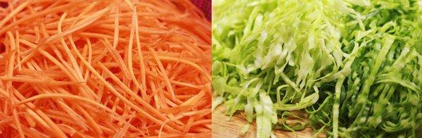 bắp cải cà rốt thái sợi